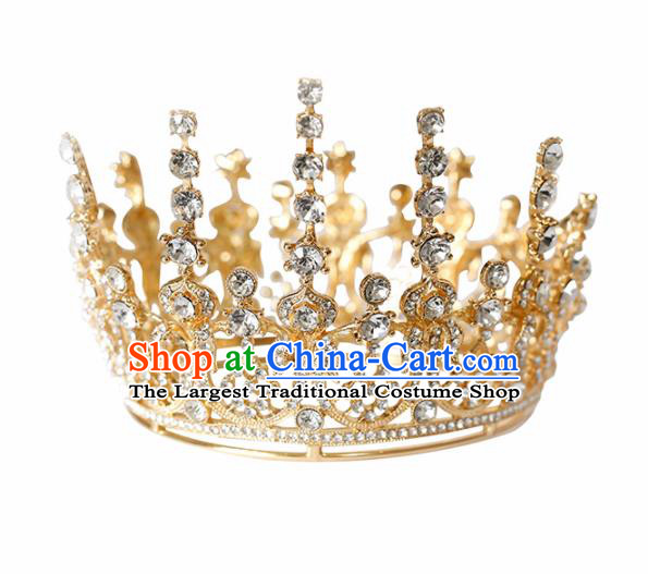 Top Grade Handmade Bride Golden Round Royal Crown Baroque Hair Accessories for Women