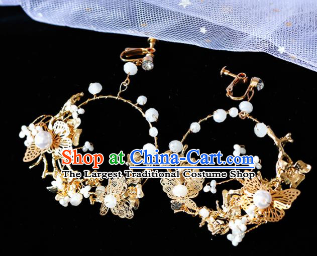 Top Grade Handmade Baroque Golden Butterfly Earrings Bride Jewelry Accessories for Women