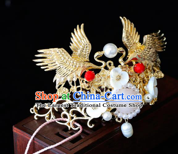 Chinese Traditional Xiuhe Suit Crane Hairpins Ancient Bride Handmade Hair Accessories for Women