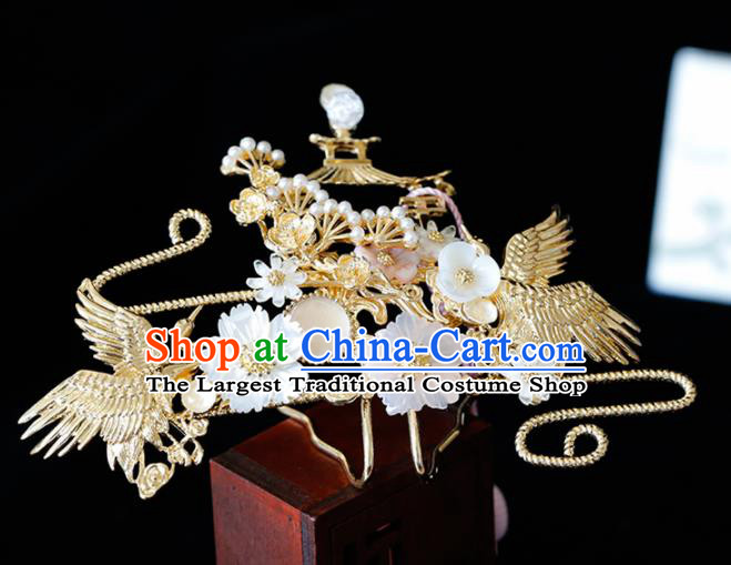 Chinese Traditional Xiuhe Suit Shell Flowers Cranes Hairpins Ancient Bride Handmade Hair Accessories for Women