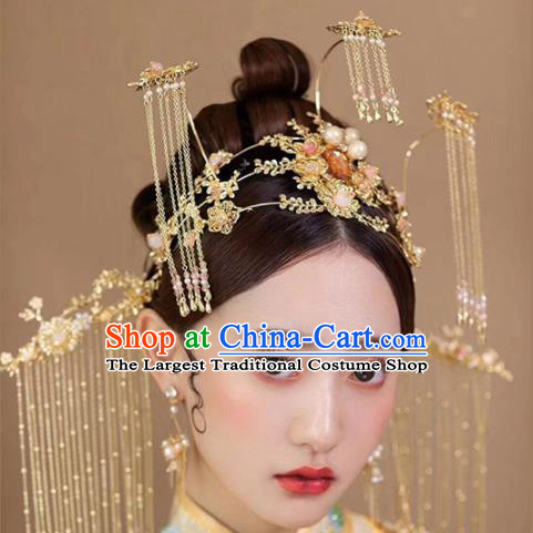 Chinese Traditional Xiuhe Suit Handmade Tassel Phoenix Coronet Ancient Bride Hairpins Hair Accessories for Women