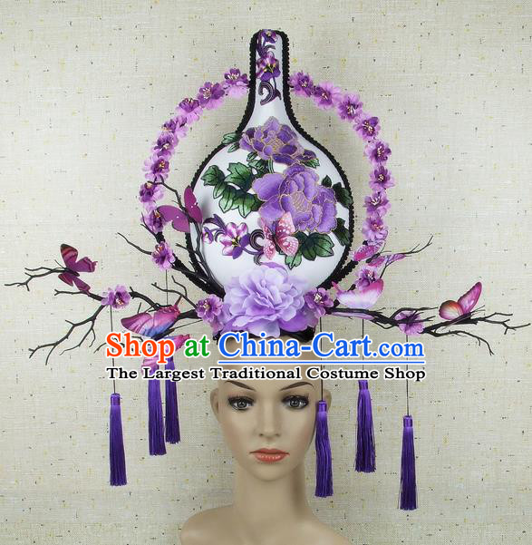 Top Grade Chinese Handmade Headdress Traditional Purple Flowers Vase Hair Accessories for Women