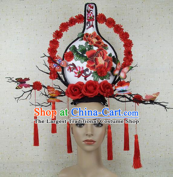 Top Grade Chinese Handmade Lace Headdress Traditional Red Flowers Vase Hair Accessories for Women