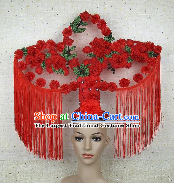 Top Grade Chinese Handmade Lace Headdress Traditional Red Roses Tassel Hair Accessories for Women