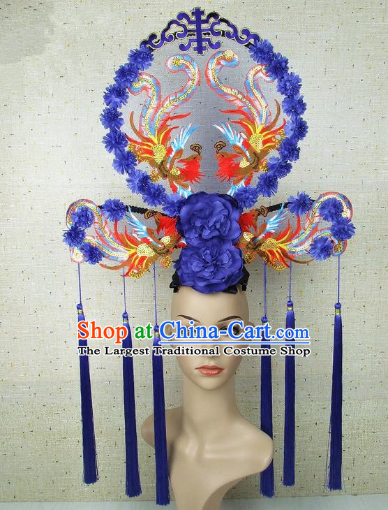 Top Grade Chinese Handmade Blue Peony Phoenix Headdress Traditional Hair Accessories for Women