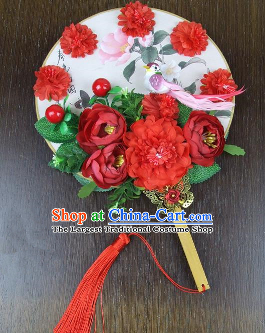 Chinese Traditional Wedding Round Fans Ancient Bride Handmade Red Peony Palace Fans for Women