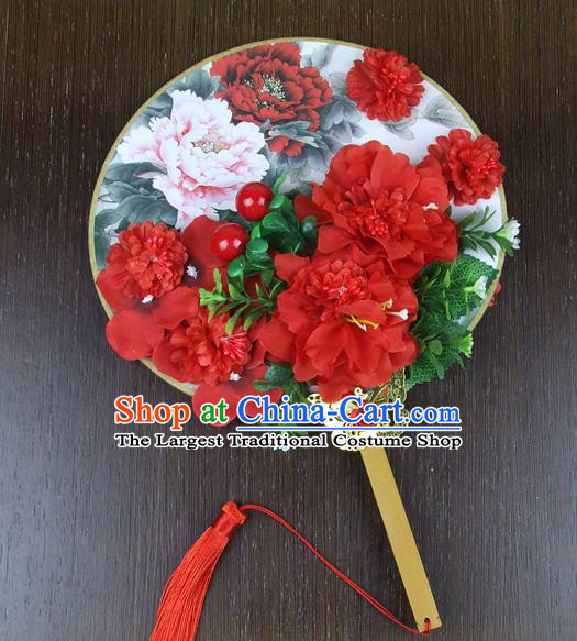 Chinese Traditional Wedding Red Peony Round Fans Ancient Bride Handmade Palace Fans for Women