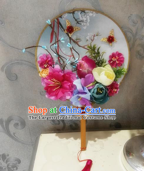 Chinese Traditional Wedding Rosy Peony Round Fans Ancient Bride Handmade Palace Fans for Women