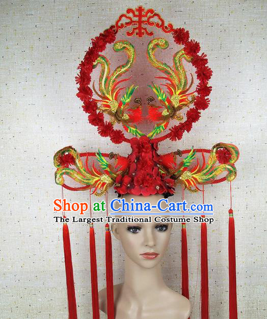 Top Grade Chinese Handmade Red Embroidered Phoenix Headdress Traditional Hair Accessories for Women