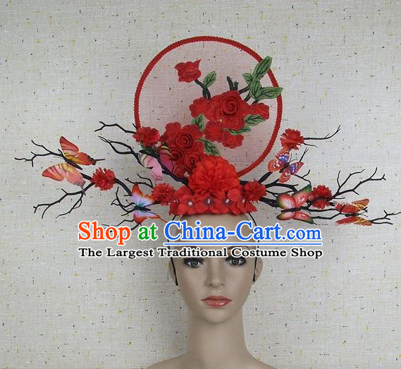 Top Grade Chinese Handmade Red Flowers Butterfly Headdress Traditional Hair Accessories for Women