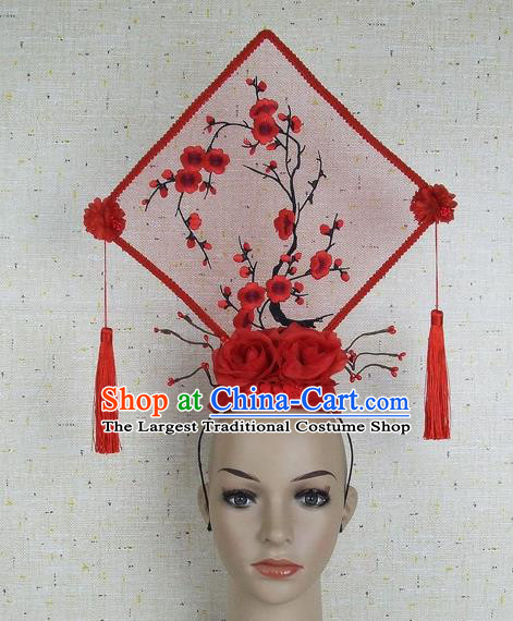 Top Grade Chinese Handmade Red Embroidered Plum Blossom Square Headdress Traditional Hair Accessories for Women