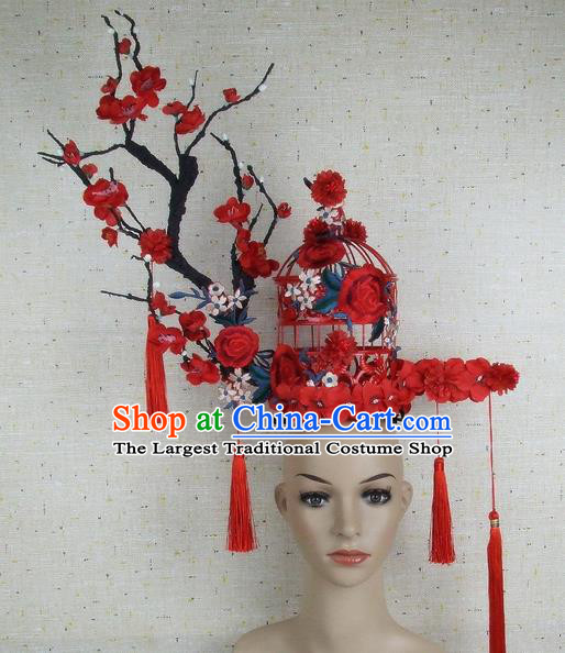 Top Grade Chinese Handmade Red Plum Blossom Birdcage Headdress Traditional Hair Accessories for Women