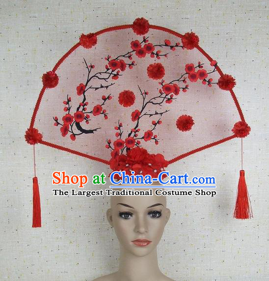 Top Grade Chinese Handmade Red Embroidered Plum Blossom Tassel Headdress Traditional Hair Accessories for Women