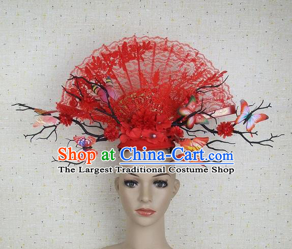 Top Grade Chinese Handmade Red Lace Butterfly Hair Clasp Headdress Traditional Hair Accessories for Women