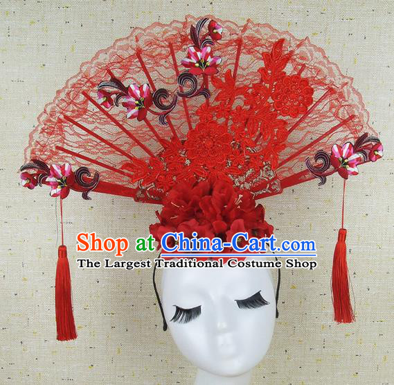 Top Grade Chinese Handmade Red Embroidered Lace Hair Clasp Headdress Traditional Hair Accessories for Women