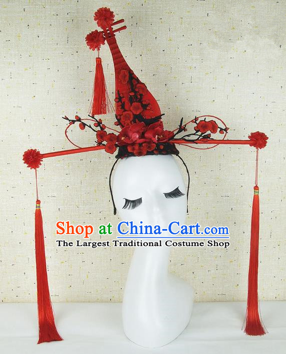 Top Grade Chinese Handmade Red Lute Hair Clasp Headdress Traditional Hair Accessories for Women