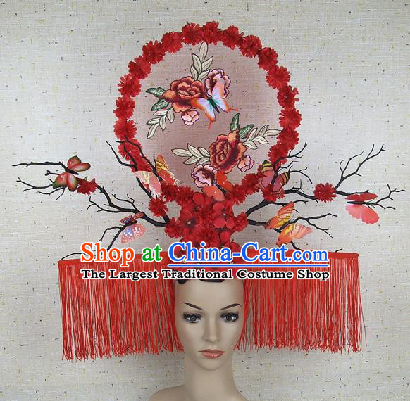 Top Grade Handmade Chinese Embroidered Peony Butterfly Palace Hair Clasp Headdress Traditional Hair Accessories for Women