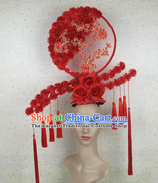 Top Grade Handmade Chinese Red Flowers Tassel Palace Hair Clasp Headdress Traditional Hair Accessories for Women