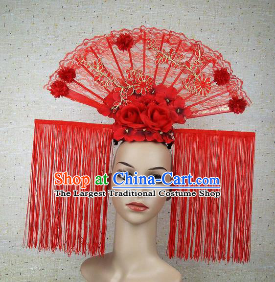Top Grade Handmade Chinese Red Tassel Palace Hair Clasp Headdress Traditional Hair Accessories for Women