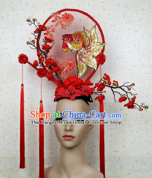 Top Grade Handmade Chinese Embroidered Goldfish Palace Hair Clasp Headdress Traditional Hair Accessories for Women