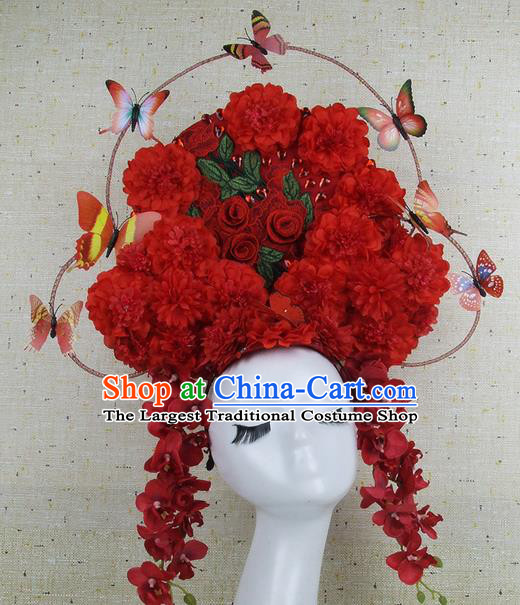 Top Grade Handmade Chinese Red Flowers Palace Hair Clasp Headdress Traditional Hair Accessories for Women