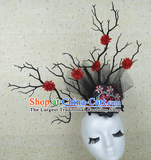Chinese Traditional Handmade Red Flowers Hair Accessories Halloween Cosplay Headwear for Women