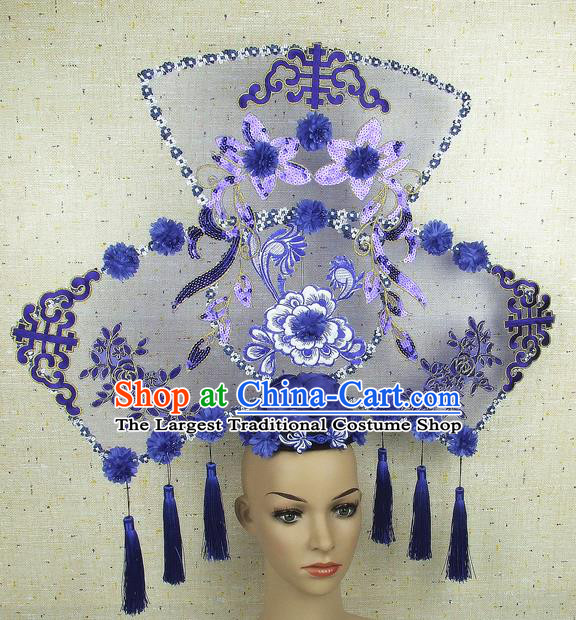 Top Grade Chinese Handmade Embroidery Peony Tassel Headdress Traditional Hair Accessories for Women