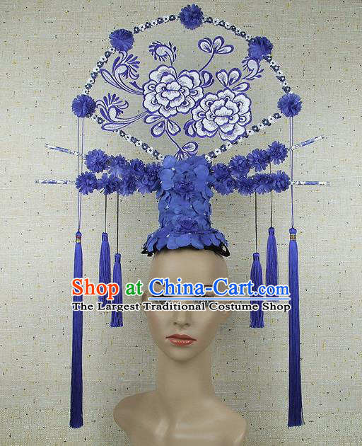 Top Grade Chinese Handmade Blue Flowers Headdress Traditional Hair Accessories for Women