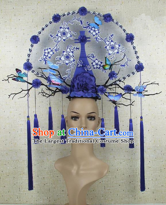 Top Grade Chinese Handmade Blue Lute Peony Headdress Traditional Hair Accessories for Women