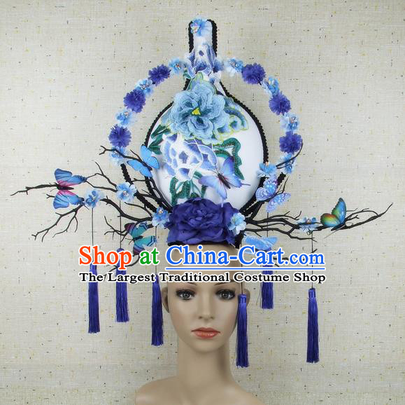 Top Grade Chinese Handmade Blue Peony Vase Headdress Traditional Hair Accessories for Women