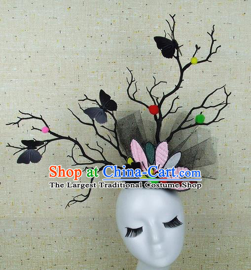 Top Grade Handmade Hair Accessories Halloween Cosplay Black Butterfly Headwear for Women