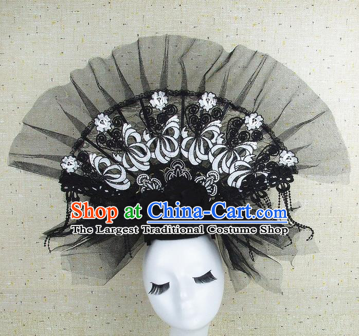 Top Grade Handmade Chinese Black Veil Palace Hair Clasp Traditional Hair Accessories Headdress for Women