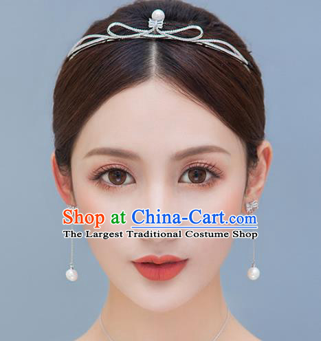 Top Grade Handmade Bride Baroque Zircon Pearl Royal Crown Princess Hair Accessories for Women