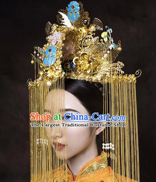 Chinese Traditional Wedding Phoenix Coronet Ancient Bride Handmade Hair Accessories for Women