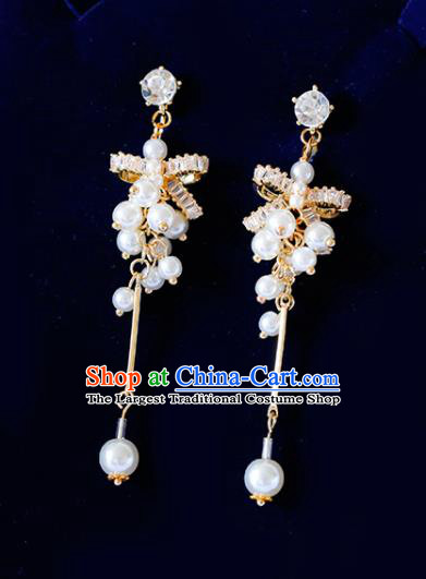 Top Grade Handmade Baroque Crystal Bowknot Earrings Bride Jewelry Accessories for Women
