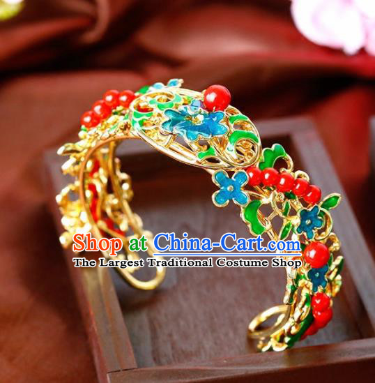 Chinese Ancient Handmade Bracelet Wedding Jewelry Accessories Blueing Bangle for Women