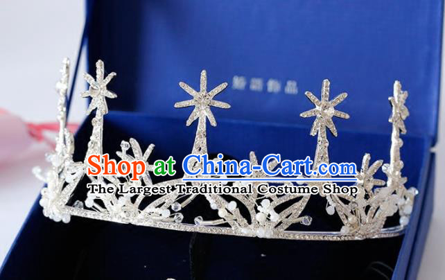 Top Grade Handmade Bride Baroque Zircon Royal Crown Princess Hair Accessories for Women