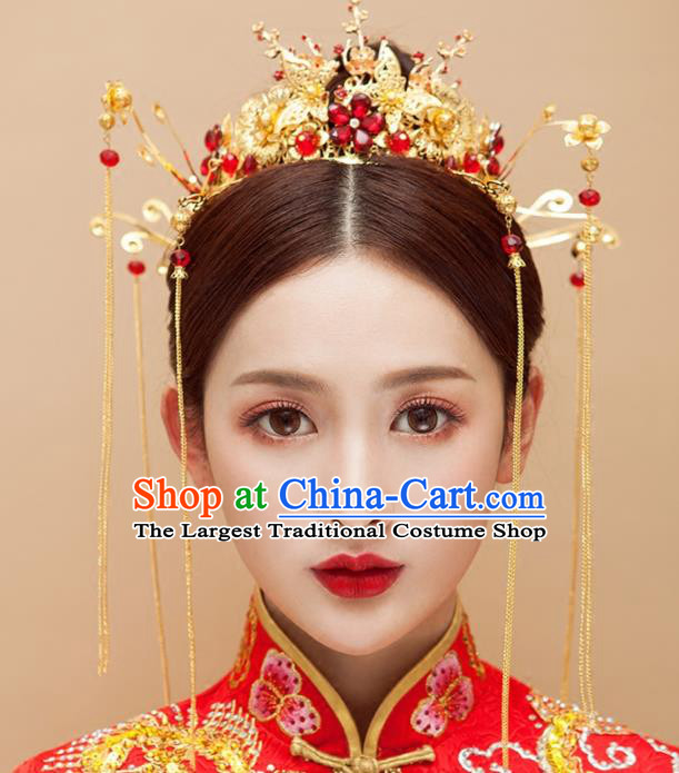Chinese Traditional Wedding Red Flowers Phoenix Coronet Ancient Bride Handmade Hair Accessories for Women
