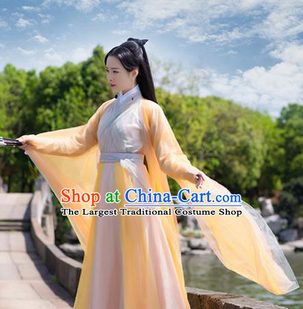 Asian Chinese Ancient Peri Costumes Traditional Princess Hanfu Dress for Women