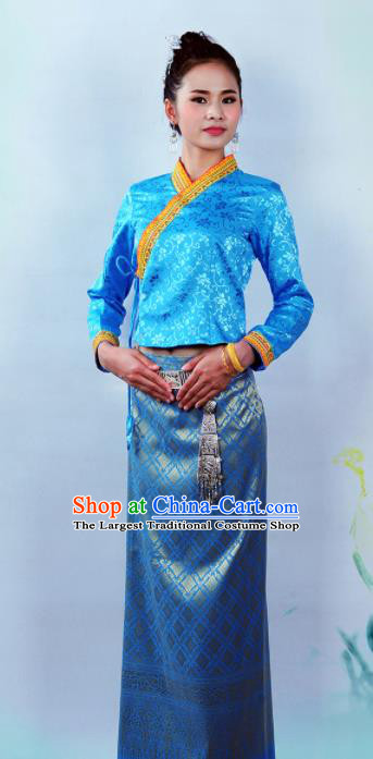 Asian Chinese Ethnic Costumes Traditional Dai Nationality Folk Dance Blue Blouse and Skirt for Women