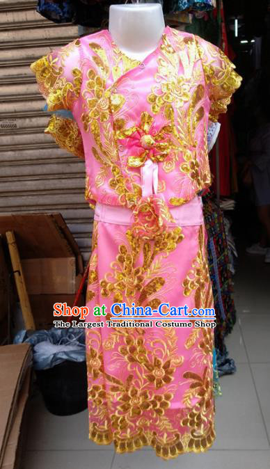 Asian Chinese Ethnic Costumes Traditional Dai Nationality Folk Dance Pink Dress for Kids