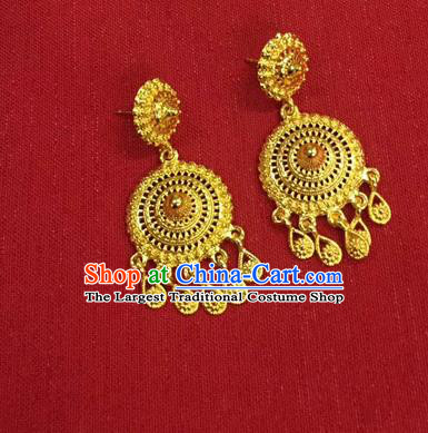 Chinese Ethnic Folk Dance Accessories Traditional Dai Nationality Golden Earrings for Women