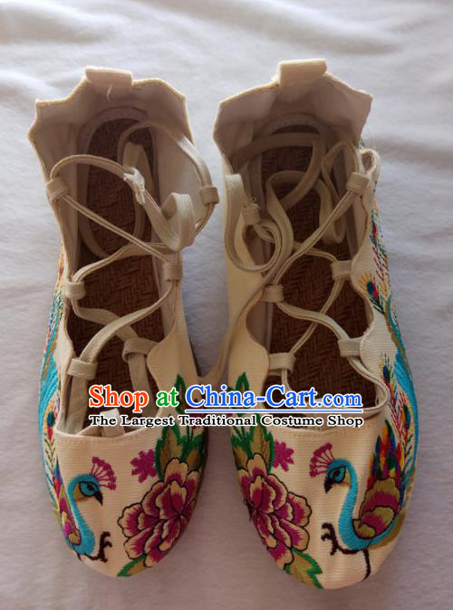 Chinese Traditional Handmade Embroidered Shoes White Cloth Shoes for Women