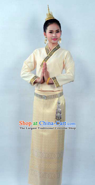 Asian Chinese Ethnic Costumes Traditional Dai Nationality Folk Dance Yellow Blouse and Skirt for Women