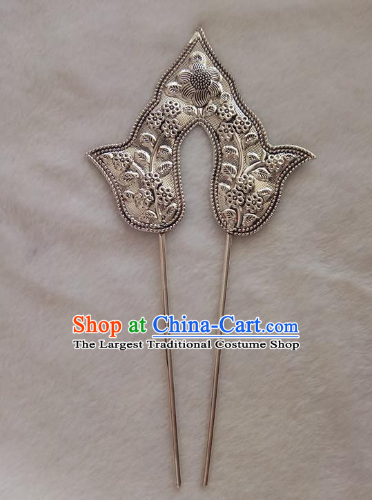 Chinese Ethnic Dai Nationality Folk Dance Hair Accessories Traditional Carving Hairpins for Women