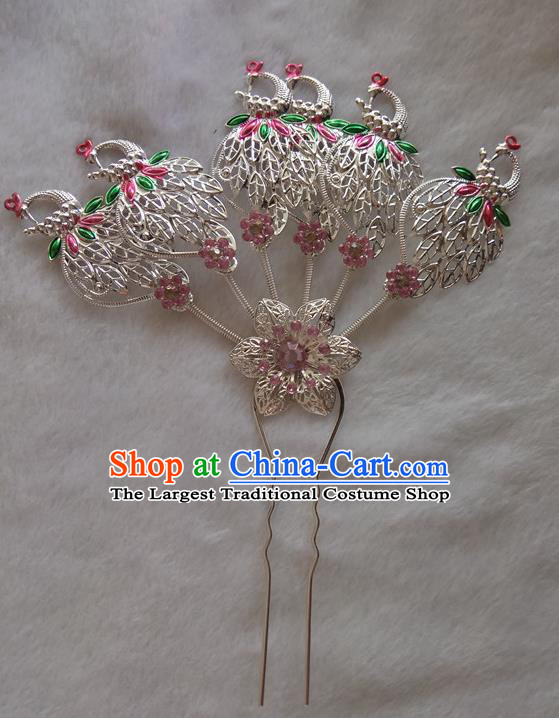 Chinese Ethnic Dai Nationality Hair Accessories Traditional Folk Dance Peacock Hairpins for Women