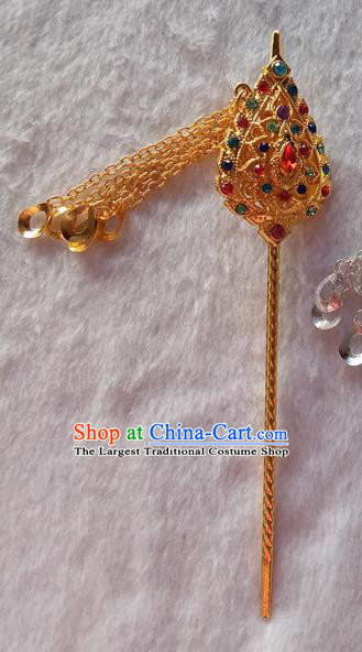 Chinese Ethnic Dai Nationality Hair Accessories Traditional Folk Dance Golden Tassel Hairpins for Women