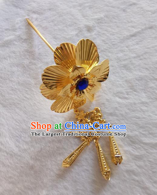Chinese Ethnic Dai Nationality Hair Accessories Traditional Folk Dance Golden Flower Hairpins for Women
