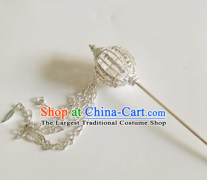 Chinese Ethnic Folk Dance Hair Accessories Traditional Dai Nationality White Tassel Hairpins for Women