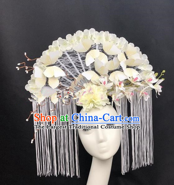 Chinese Traditional Palace Exaggerated Headdress Catwalks White Lace Butterfly Hair Accessories for Women